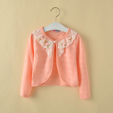 With Flower Cotton Polyester Thin Full Sleeve 1-10Y Cardigan Baby Girl Princess Sweater Teen Girls Sweaters For Spring KC-1542-1