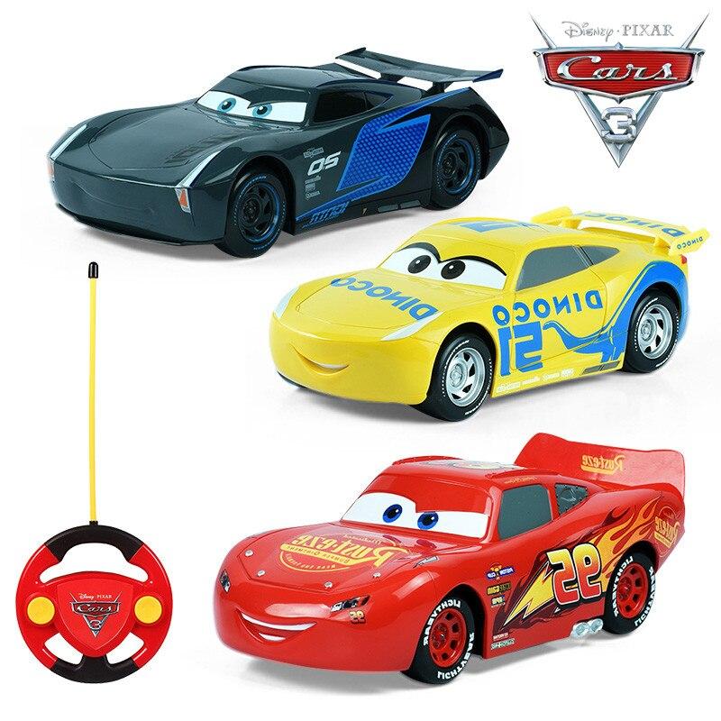 2017 Disney Pixar Juguetes CARROS McQueen Джексон Крус Дистанционное управление автомобиля Игрушечные лошадки автомобили 3 Рождество подарки для детей Обувь для мальчиков на день рождения