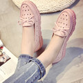 2016 bow shoes new comfortable soft bottom single pregnant women shoes Xia Hou bottom doug shoes hole hole shoes with flat sole