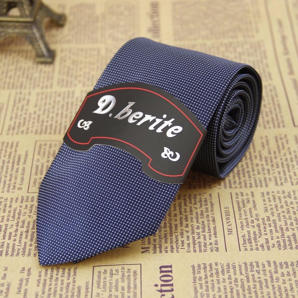D.berite Men's Tie Handmade Necktie Silk Skinny Navy Blue