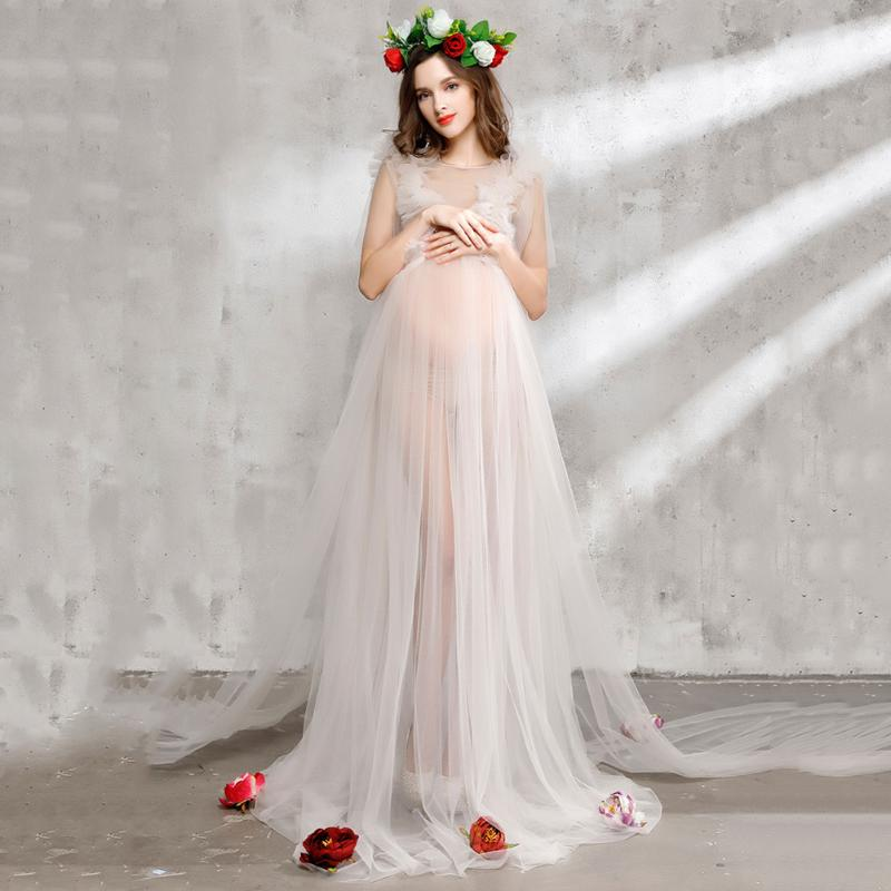 Cute Romantic Design Maternity Photography Props Dress Set White Lace Voile Pregnancy Women Dress with Veil Headwear Flowers