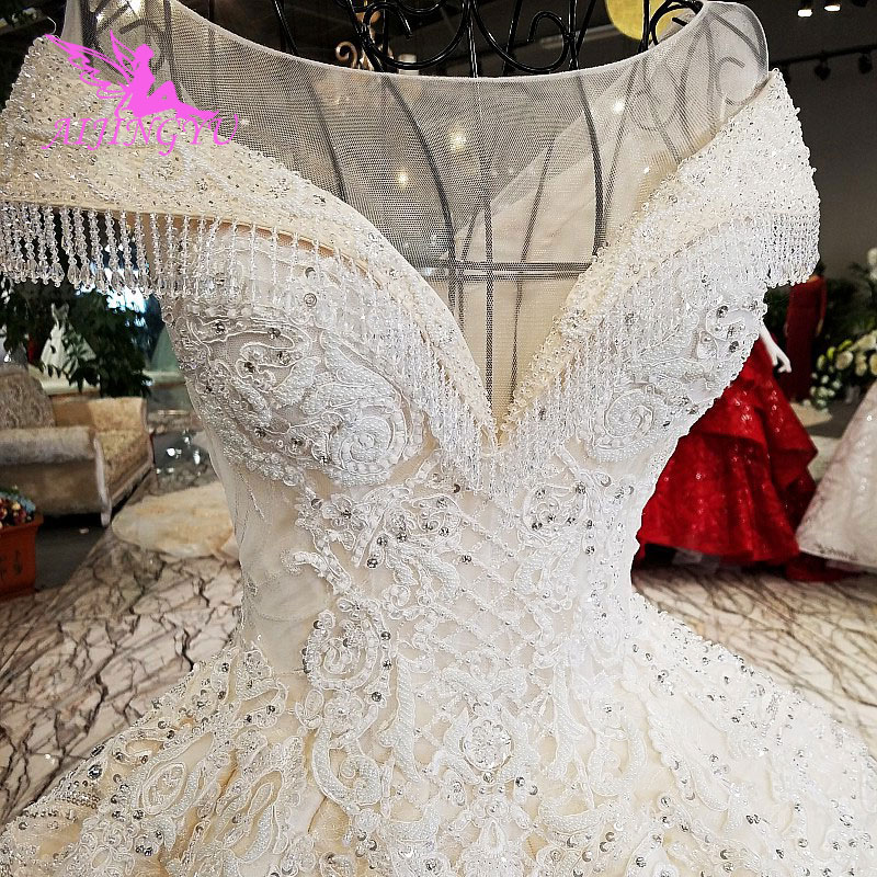 AIJINGYU Open Back Wedding Dress Luxury Gowns Guangdong Tulle Maternity Vintage Real Photo Gown Retro Wedding Dresses