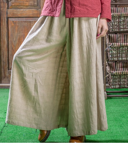 Fall 2016 new product launch, original design high quality 45% cotton 55% linen loose women of big yards Wide leg trousers