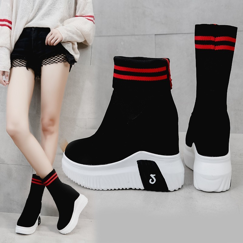 Image 3 - VIGOR FRESHNESS Woman Shoes Ankle Sock Boots Women Super High Heels Short Elastics Boots Autumn Shoes Platform Sneakers WY187-in Ankle Boots from Shoes