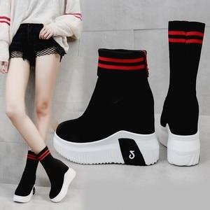 Image 3 - Vigor frescura mulher sapatos ankle sock botas mulheres super salto alto curto elásticos botas sapatos de outono tênis plataforma wy187