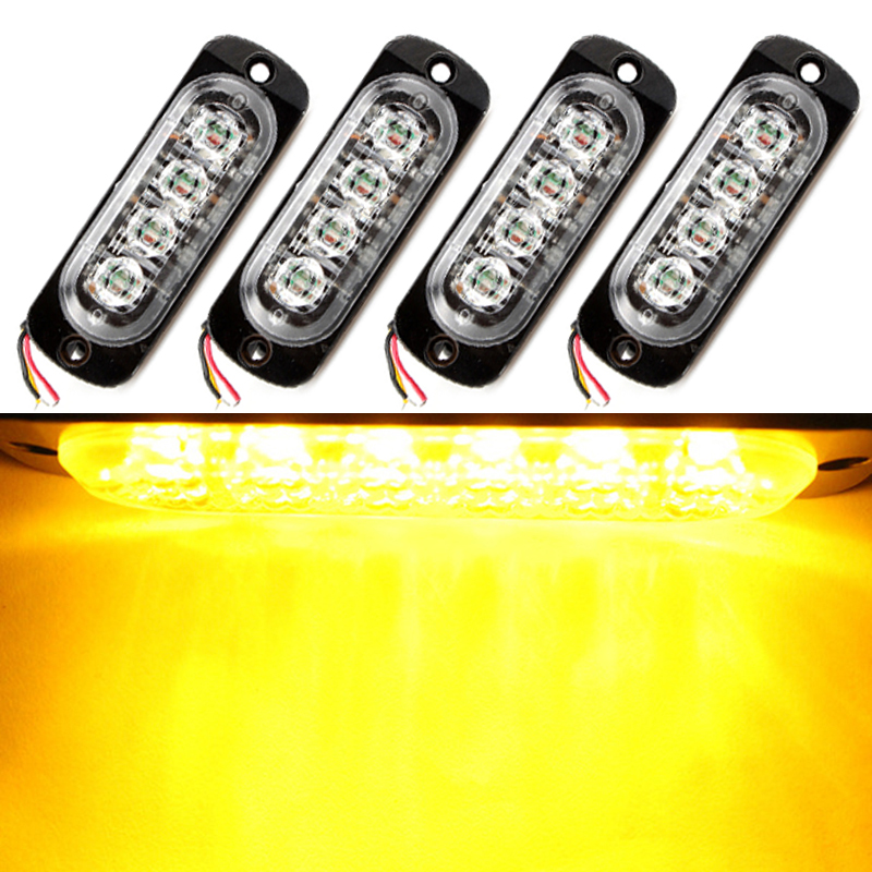 4pcs*4LED Car Flash Truck Emergency Beacon Light Bar Hazard Strobe Warning Bulb Police Auto Lamp Universal