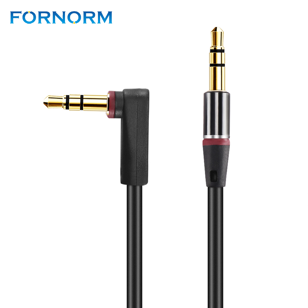 FORNORM HIFI Stereo Audio Cable 3.5mm Car Audio Cord Auxiliary Male to Male 90 Degree Angle for Universal Device