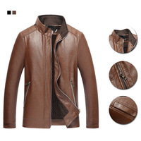 autumn new middle aged leather jacket coats elderly collar casual leather jacket men's thin washed pu coat jackets men