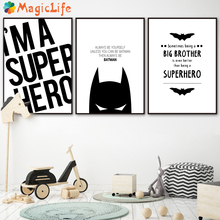 Super Hero Batman Modern Black White  Wall Art Canvas Painting Nordic Poster Pictures For Living Room Prints Unframed