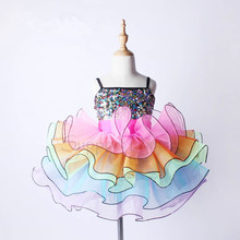 Girls Colorful Professional Ballet Tutu Dress Kids Dance Costume C99