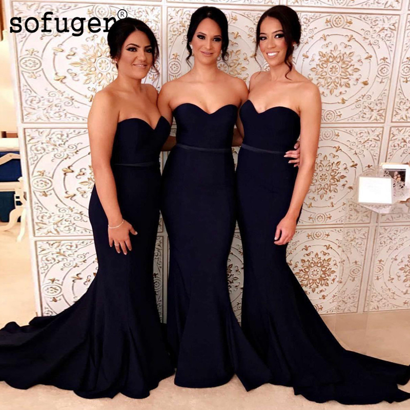 Graceful Black Strapless Sash Mermaid Special Occasion   Bridesmaid     Dress   Formal Party   Dress   Vestidos Wedding Party   Dresses