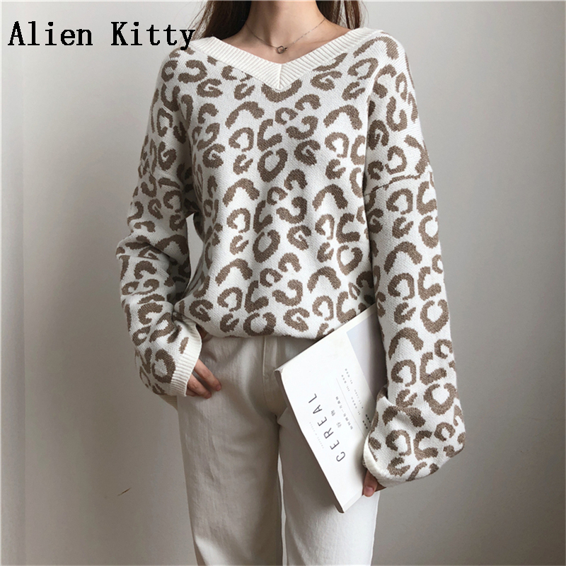 Alien Kitty Fashion Sweater Women Winter 4 Colors Pullover Knitted Leopard Print Sweater Top V-Neck Autumn Sexy Female Sweaters