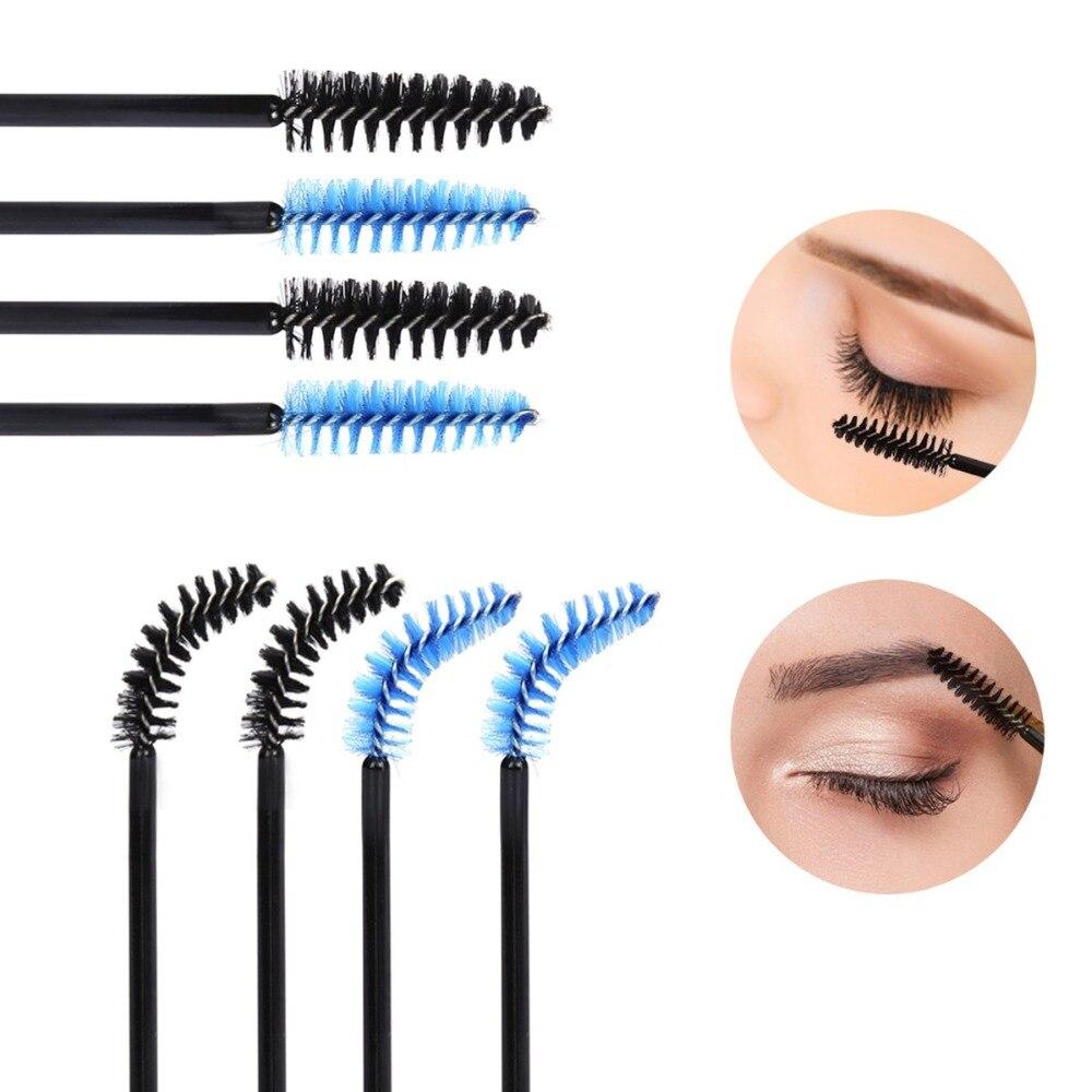Hot Sale 500Pcs lot Disposable Eyelash Brush Mascara Wands Makeup Cosmetic Blue Handle color plastic Eyelash Brush Tool kits in Eye Shadow Applicator from Beauty Health
