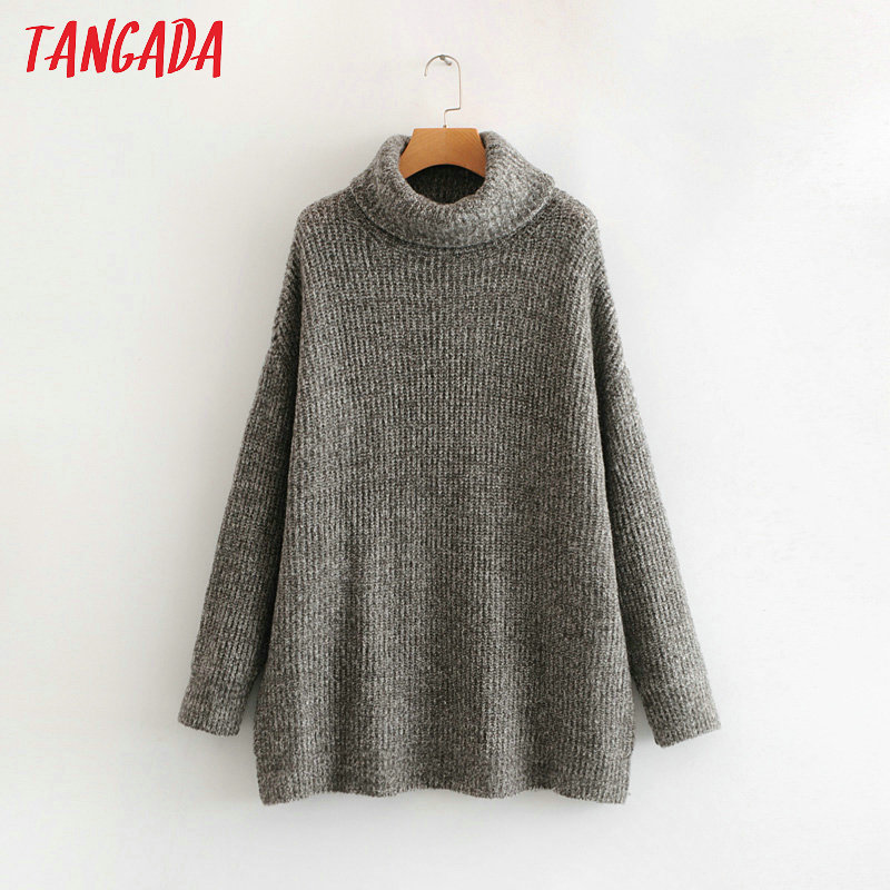 Tangada women jumpers turtleneck sweaters oversize winter fashion 19 long sweater coat batwing sleeve christmas sweate HY135 19