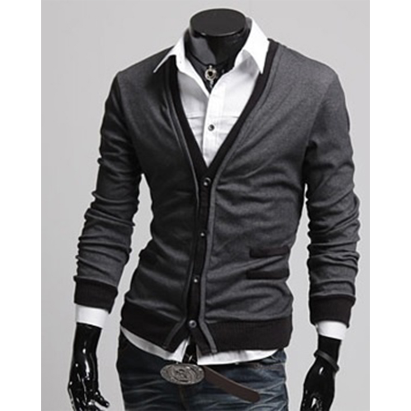 Zogaa 2019 Dark Gray Black Sweater Men Simple Cotton Fake Pocket Zipper Man Imported Wool Sweater Cardigan Coat Plug Size 4XL in V Neck from Men 39 s Clothing