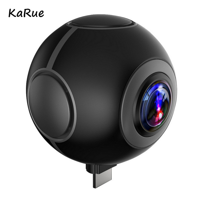 KaRue 360 Degree Panoramic Camera VR Camera HD Video Dual Wide Angle Lens Real Seamless Stitching for Android Smartphone 720 360 degree panoramic camera vr camera hd video dual wide angle lens real time seamless stitching for android smartphone