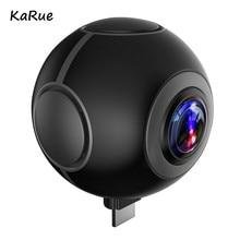 KaRue VR Câmera Panorâmica de 360 Graus Câmera de Vídeo HD Dupla Lente Grande Angular Real Sem Costura Costura para Smartphone Android