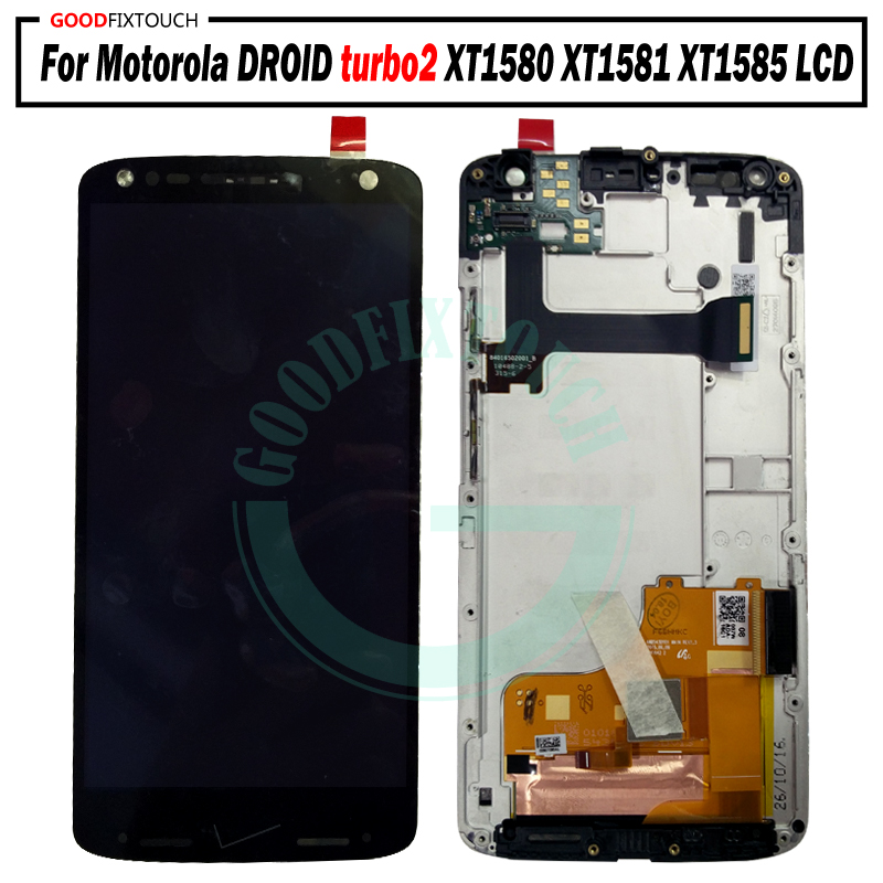 Touch Screen Digitizer Assembly With Frame Lustrous Surface Mobile Phone Lcds For Motorola Moto Maxx Droid Turbo2 Turbo 2 Xt1585 Xt1581 Xt1580 Full Lcd Display