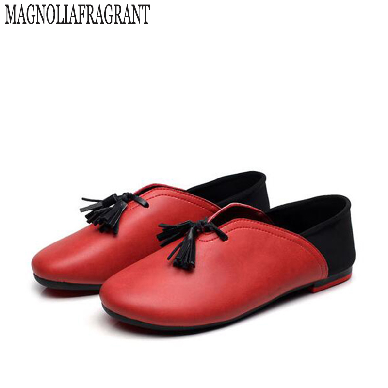 Handmade genuine leather ballet flat shoes women female slip on leather car-styling flat shoes casual shoes  tassel women shoes women shoes handmade genuine leather