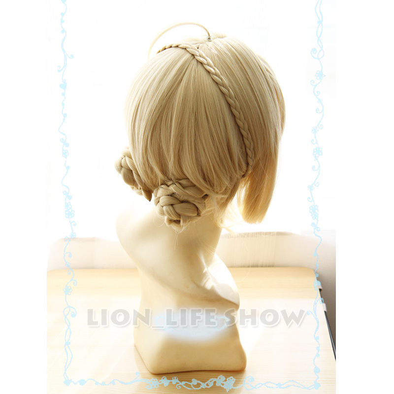 Violet Evergarden Long Ponytail Braid Bun Bangs Blonde Cosplay Wig Party Wigs