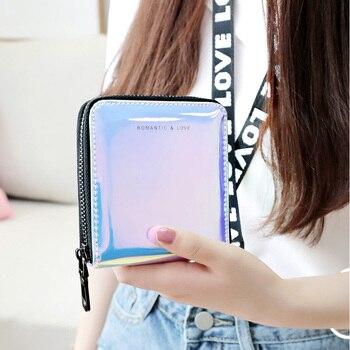 New Women Short Wallet Clutch Laser Wallet Fashion Standard Zipper Wallets Designer Variable Color Card Holder Purse