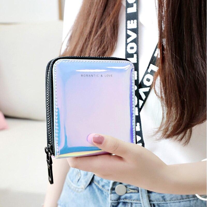 Nuevas mujeres corto cartera Cartera de láser moda estándar cremallera carteras diseñador Variable Color titular de la tarjeta monedero