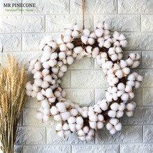 "D19"" Real Cotton Dry Flowers Wreath Party Festival Wedding Decoration Handmade Rattan Wreaths Decor Christmas Wreath Home Decor"