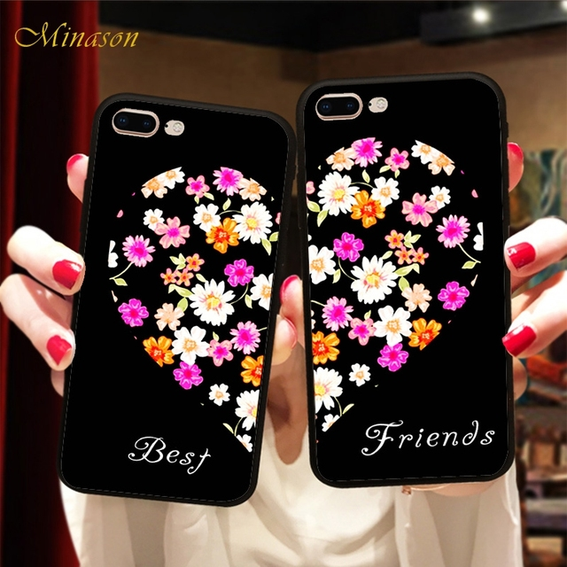 buy online 3211d 19998 US $1.96 36% OFF|Flower Heart Best Friends BFF Case For iPhone X 8 6 S 6S 7  Plus 5 5S XR XS Max SE Couple Lover Soft TPU Silicone Phone Cover-in ...