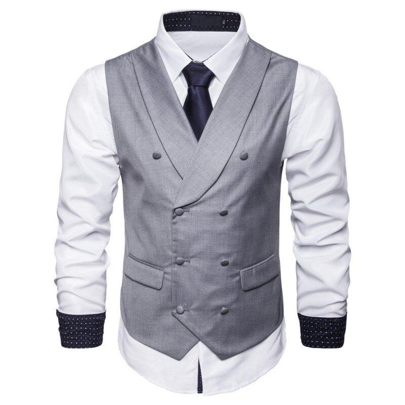2019 Taille Breasted Veste Manches Grande S Gray 5xl Mens Costume Sans De light Gray Slim deep Solide blue black Nouveau Gilet Double Mode D'affaires Automne Fit Décontracté Navy rw8fr