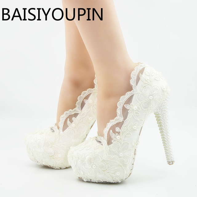 flor blanca encaje tacones altos diamante boda zapatos novia zapatos