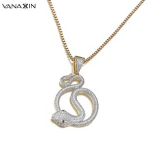 VANAXIN Snake Necklace Pendants AAA Cubic Zirconia Shiny Necklaces For Men Hip Hop Jewelry Top Quality
