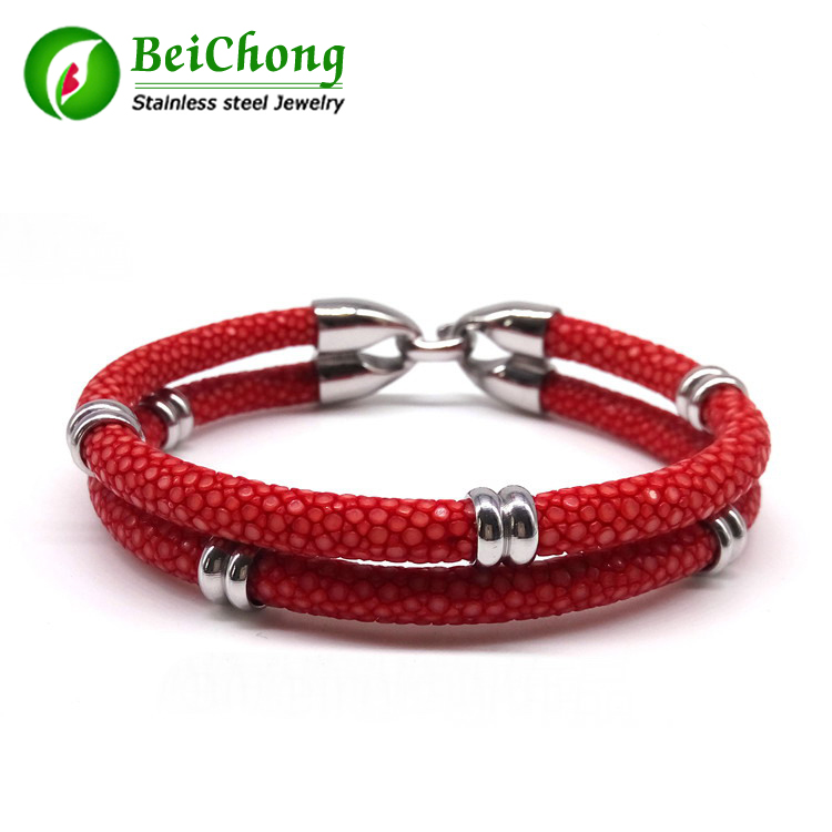 Stingray Skin Leather Bracelet Bangle With Silver Stainless Steel Clasp