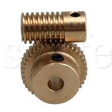 0,5 Модуль 40 зубы латунь Червячное колесо передач и 5 мм отверстие диаметром червячный вал Наборы 1:40 Передаточное отношение с винтом