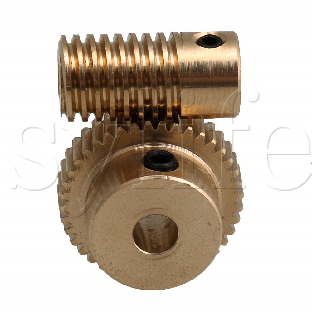 0.5 Modulus 40 Teeth Brass Worm Gear Wheel & 5mm Hole Dia Worm Gear Shaft Kits 1:40 Reduction Ratio with Screw image
