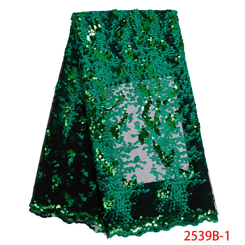 Latest Nigeria Mesh Fabric with Sequins Green Lace Fabric 2019 Newest French Tulle Lace Fabric For