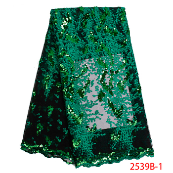 Latest Nigeria Mesh Fabric with Sequins Green Lace Fabric 2019 Newest French Tulle Lace Fabric For Evening Party Dress APW2539B