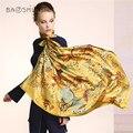 [Baoshidi] 2016 outono nova chegada, 16 m/m 100% lenço de seda, lenços infinito 106*106 verão mulheres, marca de luxo lenços, xale, hijab