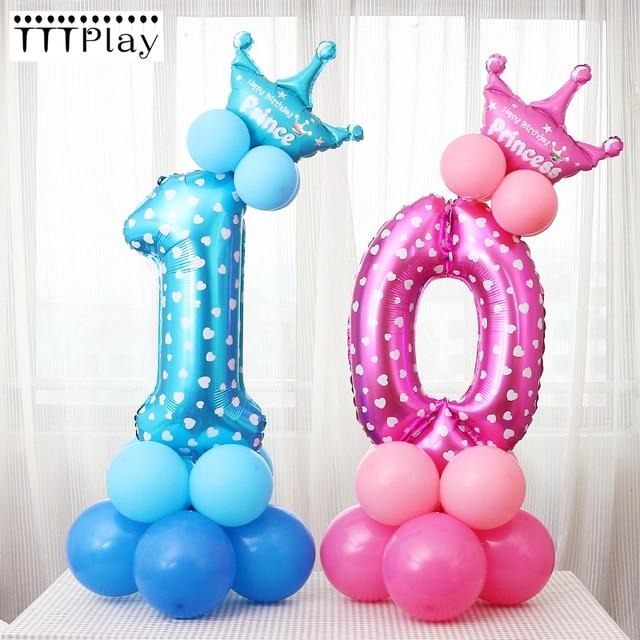 1Set Blue Pink Digital Balloon Number Foil Balloons Boy Girl Birthday Wedding Christmas Festival Party Decor Supplies Air Ballon