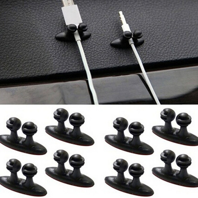 2016 Nuevo caliente 1 Juego de cargador de línea de cargador de coche abrazadera de auriculares/Cable USB Clip de coche de plástico accesorios de coche negro venta al por mayor