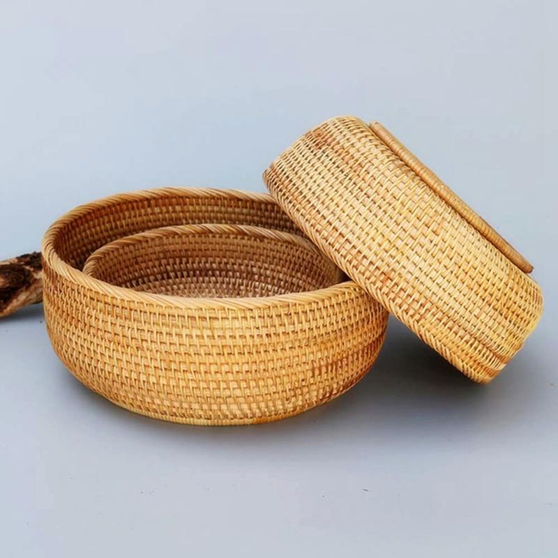 Hadewoven Round Rattan Fruit Basket Wicker Food Tray Weaving Storage Holder Dinning Room Bowl (3-Size Kit)