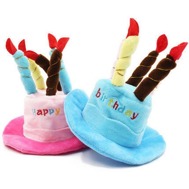 Cute Pet Cat Dog Caps Happy Birthday Hat With Cake Candles Design Party Teddy Poodle Kawaii