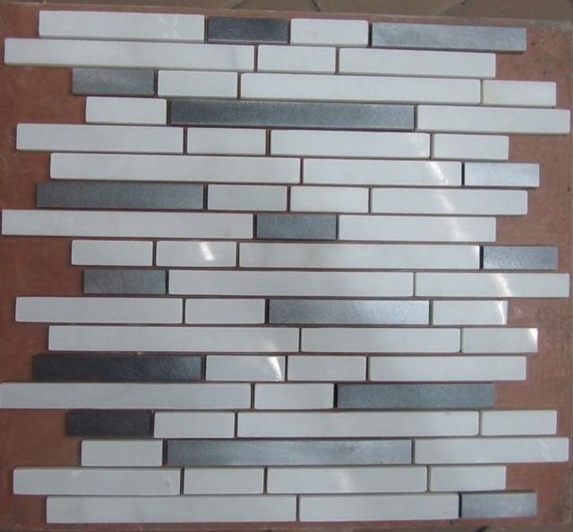 Bathroom Tiles Mosaic Border: White Marble Metal Mosaic Tile For Bathroom Wall Border