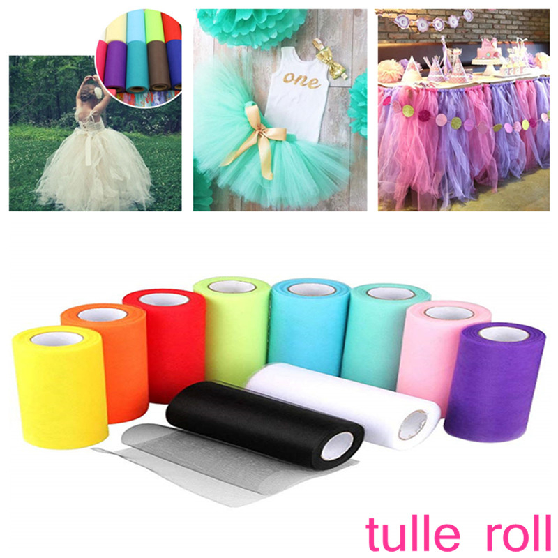 Healifty 2pcs White Tulle Rolls Spool Tulle Fabric Roll For Wedding Table Tutu Dress Skirt Decorations 25 Yard 2 Inch