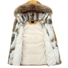 5XL белая куртка-пуховик на утином пуху, Женское зимнее пальто с гусиным пером, длинная парка с мехом енота, теплая верхняя одежда с кроличьим мехом размера плюс WJM19