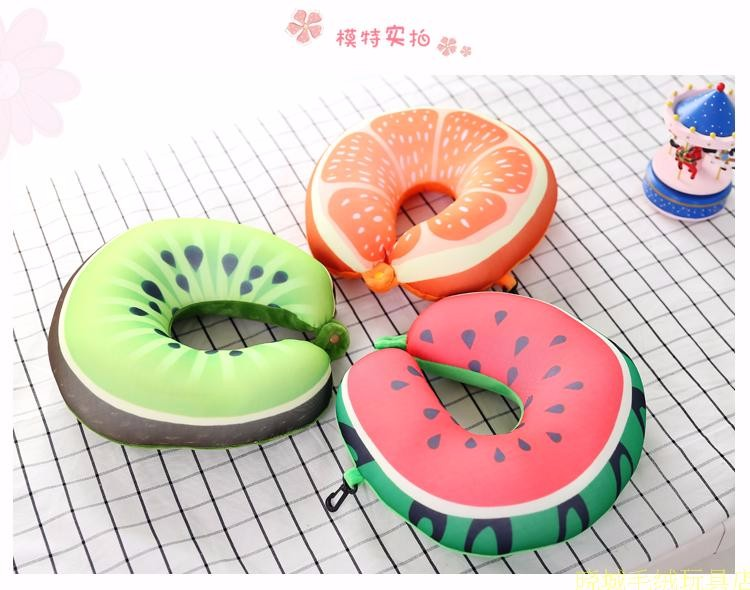 2017 Creative New Design Auto Cushion 3D Watermelon U-shaped Neck Pillow Lunch Break Creative Travel Pillow Free Shipping 2