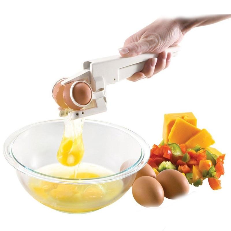 EZ Cracker Delicate Küchenhelfer Werkzeuge Kunststoff Egg Cracker Schneebesen York & Eiweißseparator Riss Hand Egg Cracker