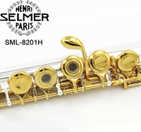 selm flute SML 8201H 16 hole Open C key Cupronickel flute primary Gold plated Professional musical instrument With Mouthpiece