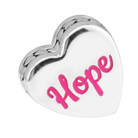 Hope Splendid Pink Ribbon Silver Heart Charms 925 Sterling Silver Fit European Lady Bracelet Bead For