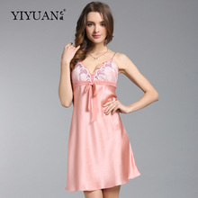 100% Natural Silk Nightdress Female Summer Sleeveless Nightgowns Sexy V-Neck Embroidery Women Sleepwear D3336