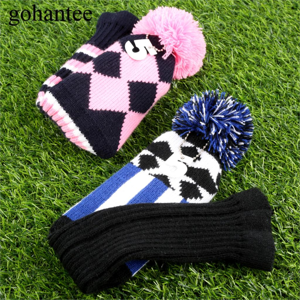 d2669f4c0 3pcs/set Colorful Knitted Fabric Golf Hybrid Club Head Covers Wooden  Driver/Fairway Wood Headcover For Cobra/PXG/Callaway Driver
